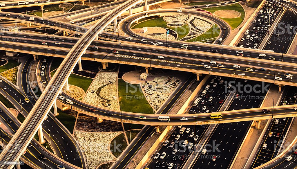 Rush Hour Traffic in Dubai stock photo