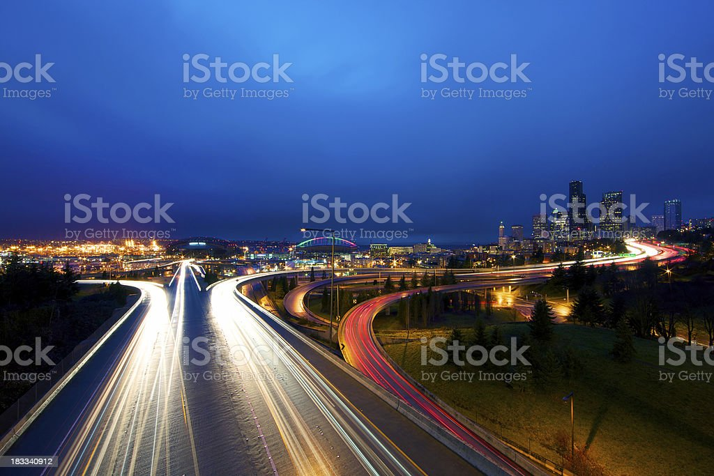 Rush hour traffic in Seattle royalty-free stock photo