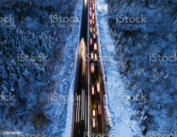 Rush Hour Traffic In Winter Stock Photo - Download Image Now