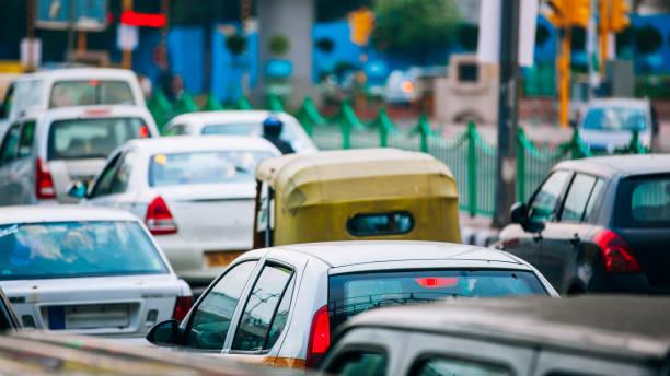 Rush hour. Traffic Jam In Delhi, India stock photo