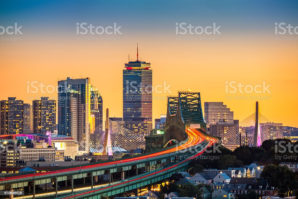 Rush hour traffic on Tobin bridge in Boston stock photo