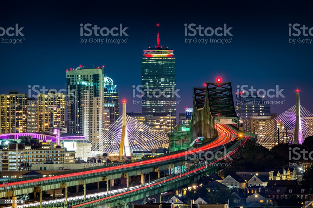 Rush hour traffic on Tobin bridge stock photo