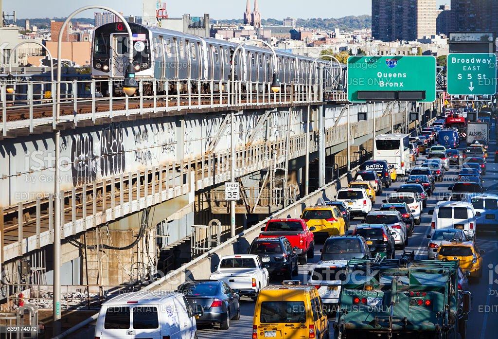Rush Hour Traffic on Williamsburg Bridge in New York City stock photo