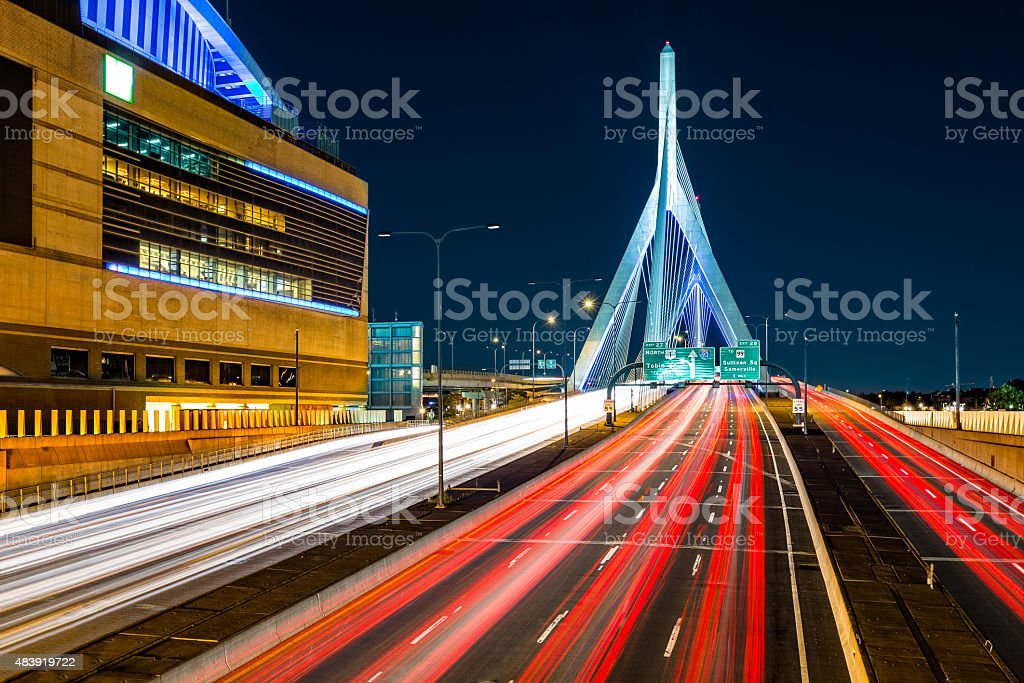 Rush hour traffic on Zakim bridge stock photo