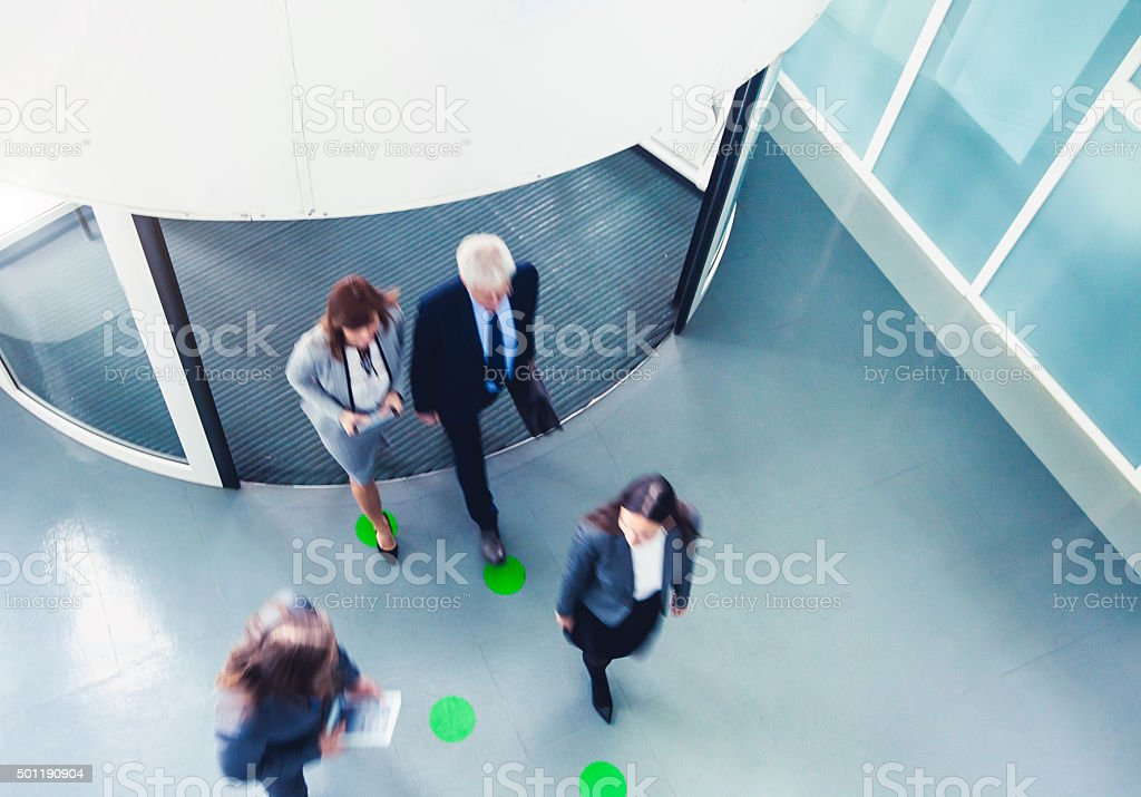 Rush hour with business people stock photo