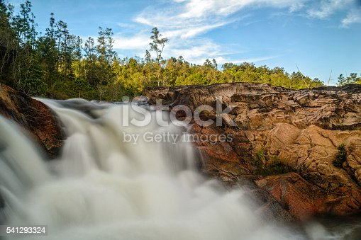 A waterfall on a bright day in Mountain Pine Ridge, Belize.