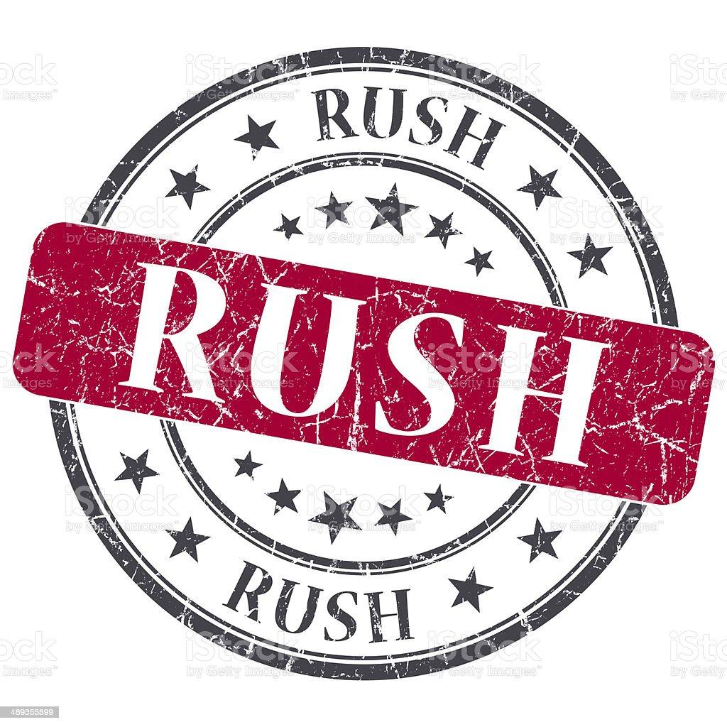 Rush red grunge round stamp on white background stock photo