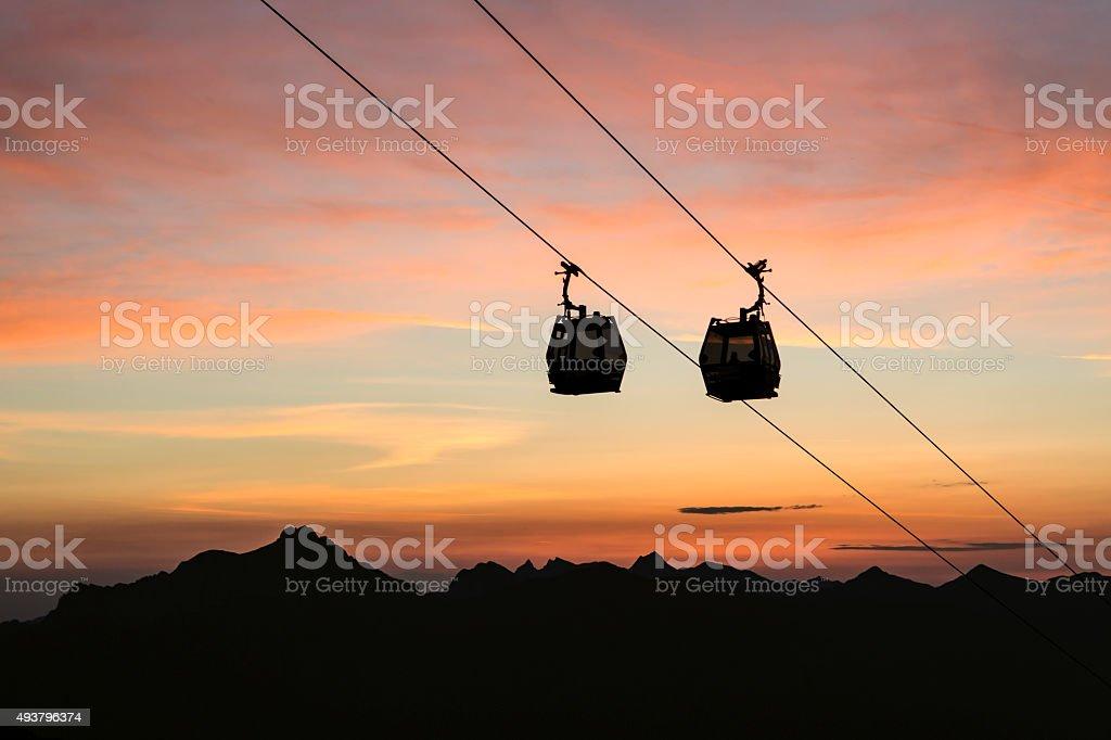 rush with the gondola to Sunrise stock photo