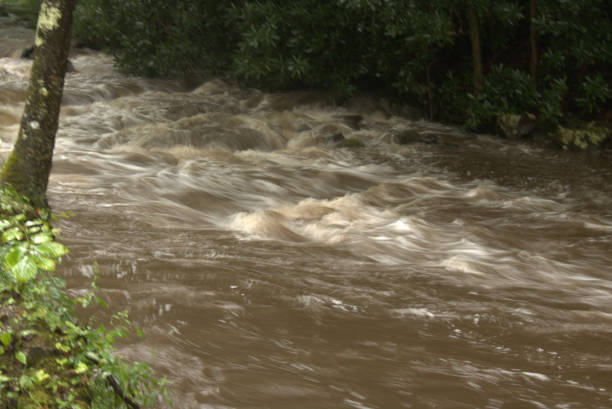 Rushing flood waters stock photo