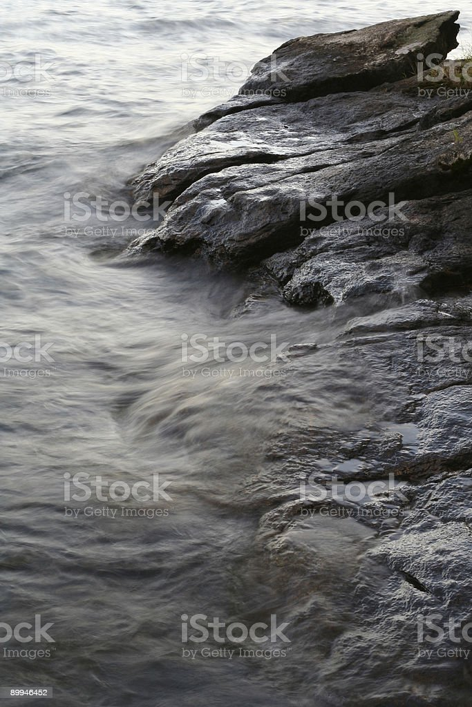 Rushing Water on Rock Outcrop royalty-free stock photo