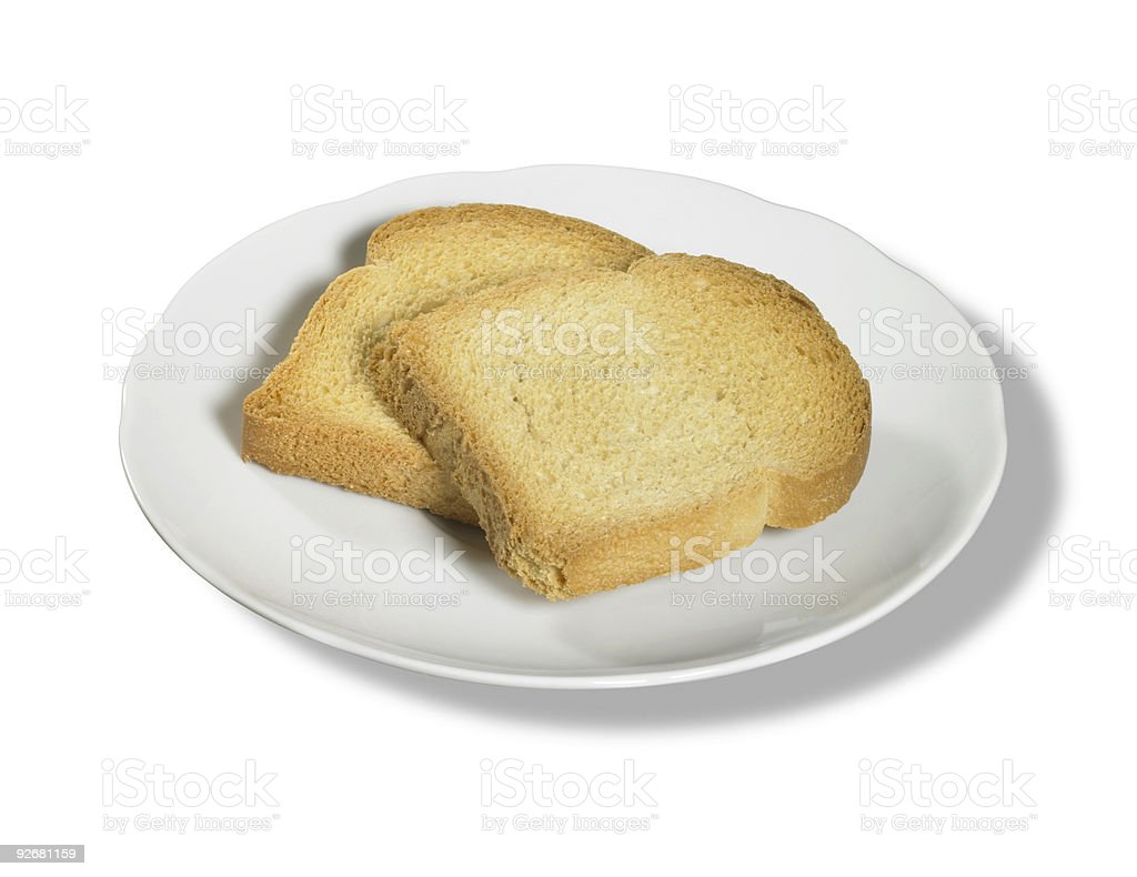 rusk slices on porcelain plate stock photo