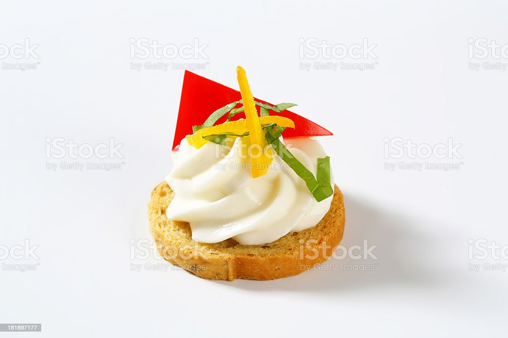 rusk with cream cheese and vegetable royalty-free stock photo