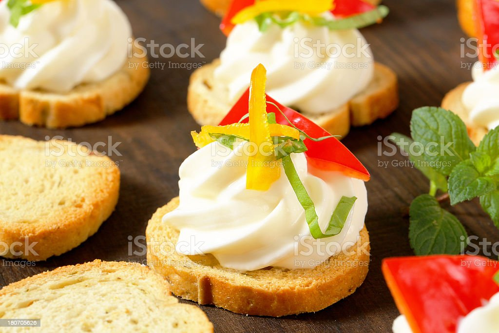 rusks with cream cheese and vegetable royalty-free stock photo