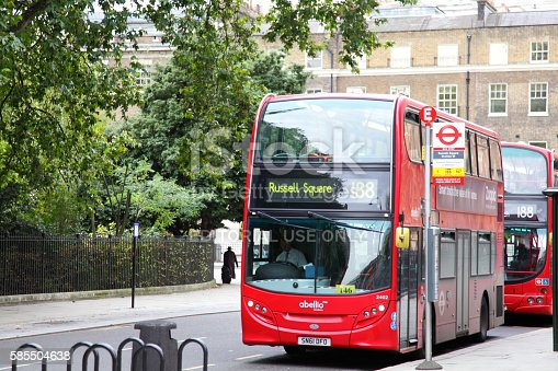istock Russel Square double decker red bus 585504638
