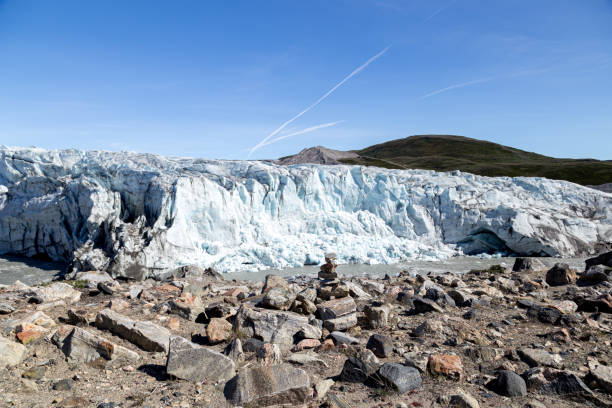 Russell Glacier in Greenland stock photo