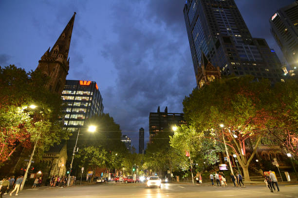 Russell street and Scots' church at dusk, Melbourne stock photo