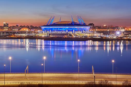 Russia 2018 FIFA World Cup Stadium in St. Petersburg, night.