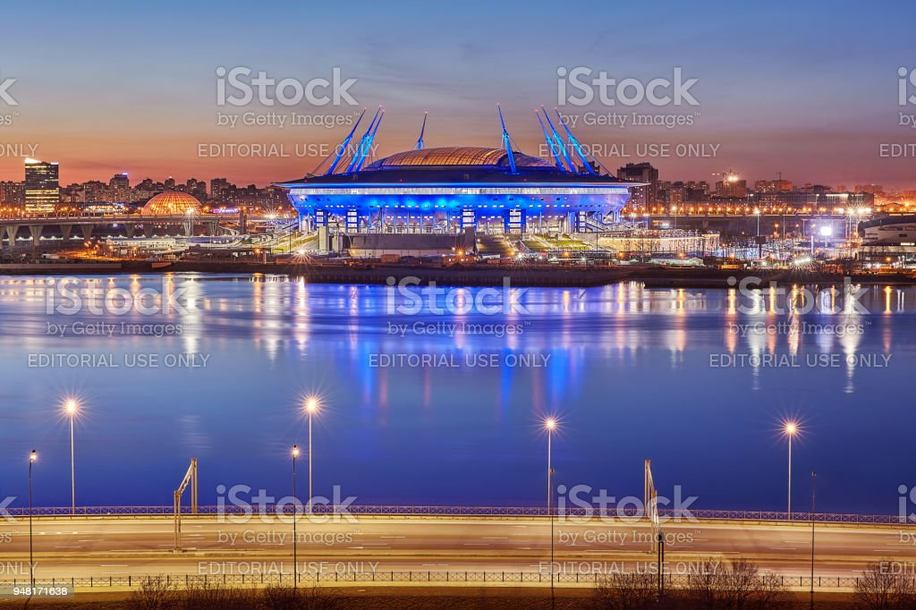 Russia 2018 FIFA World Cup Stadium in St. Petersburg, night. stock photo