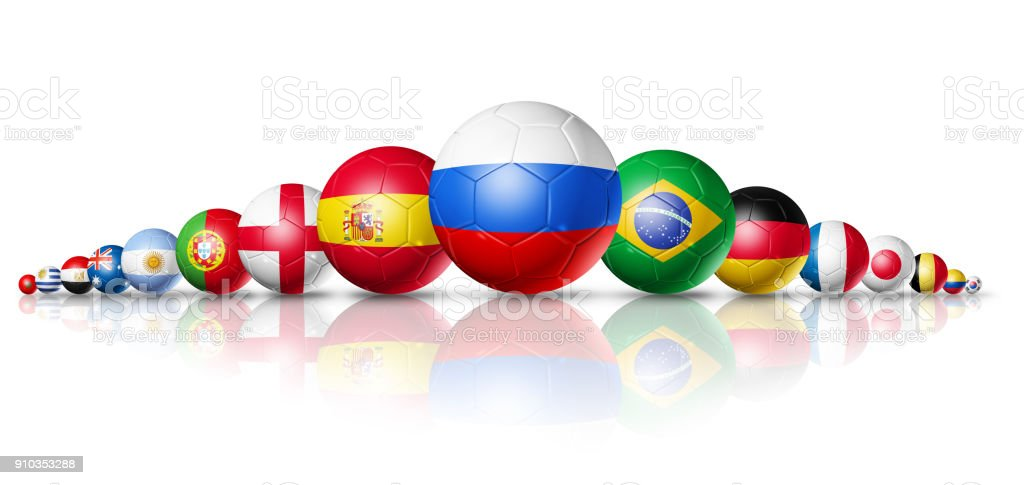 Russia 2018. Football soccer balls with team national flags стоковое фото