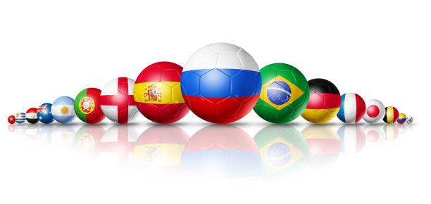 ryssland 2018. fotboll fotbollar med team nationsflaggor - football portugal flag bildbanksfoton och bilder