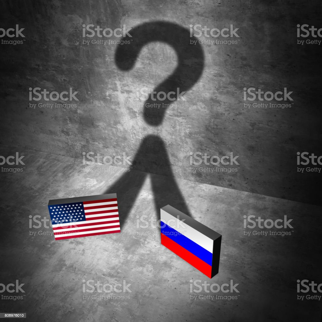 Russia American news question stock photo