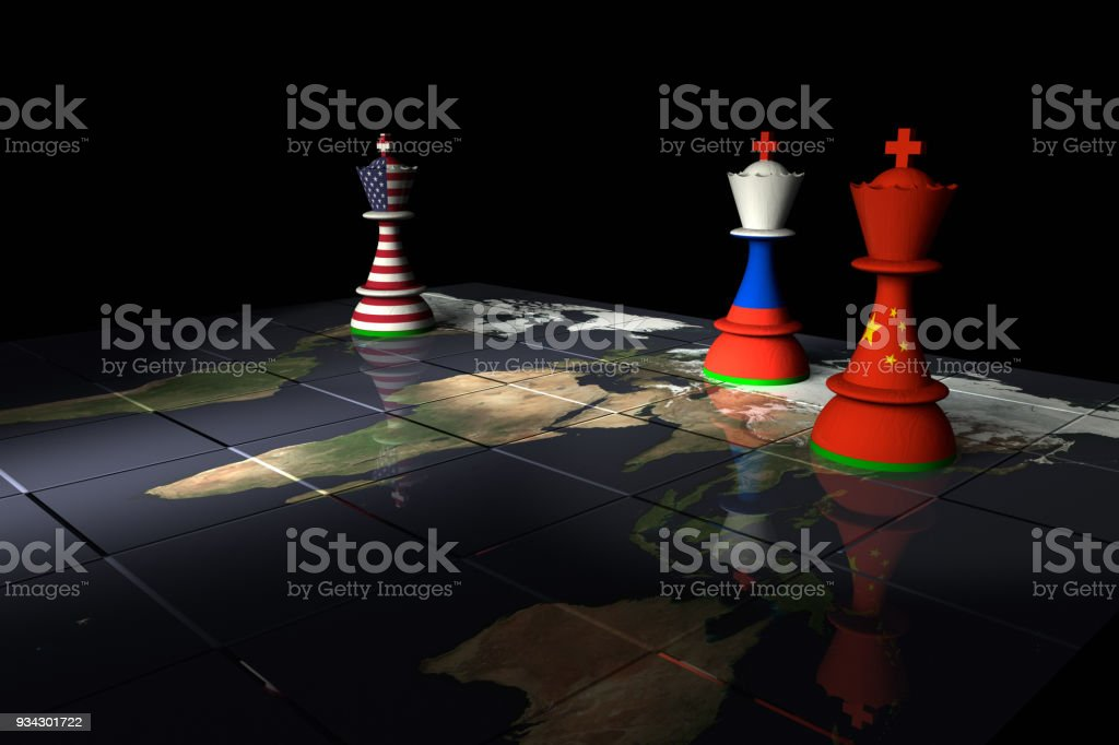 USA, Russia and China Chess Standoff stock photo