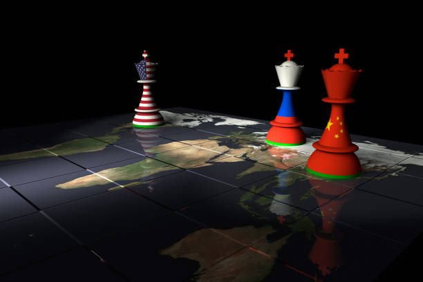 USA, Russia and China Chess Standoff Render of a chessboard decorated a map of the earth and with pieces decorated with the American, Chinese and Russian flags.  The Earth map is a public domain image from NASA's Visible Earth project: https://visibleearth.nasa.gov/view.php?id=73884 theasis stock pictures, royalty-free photos & images