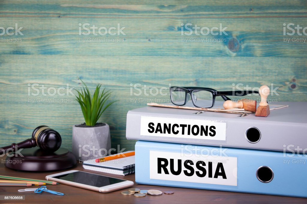 Russia and sanctions concept. Politics and business relations stock photo