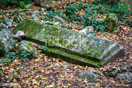 Russia.  Bakhchisaray, Crimea. Old medieval tatar muslim cemetry Gazy Mansur at Bakhchysaray