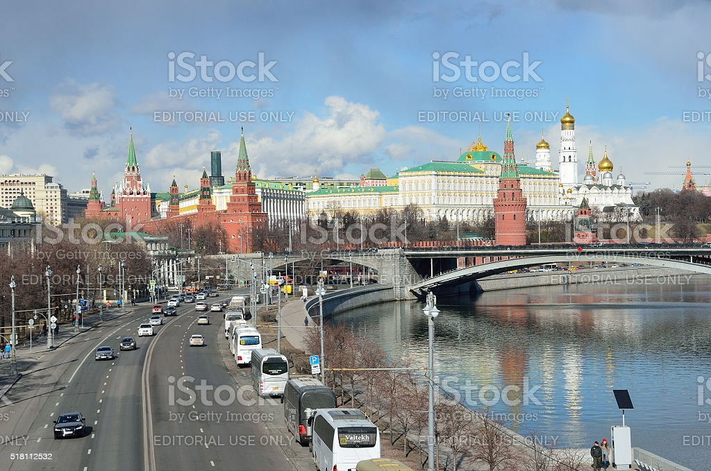 Russia, cars on the embankment near kremlin in Moscow stock photo