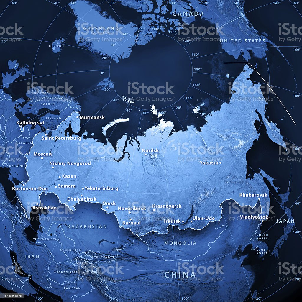 Russia Cities Topographic Map stock photo