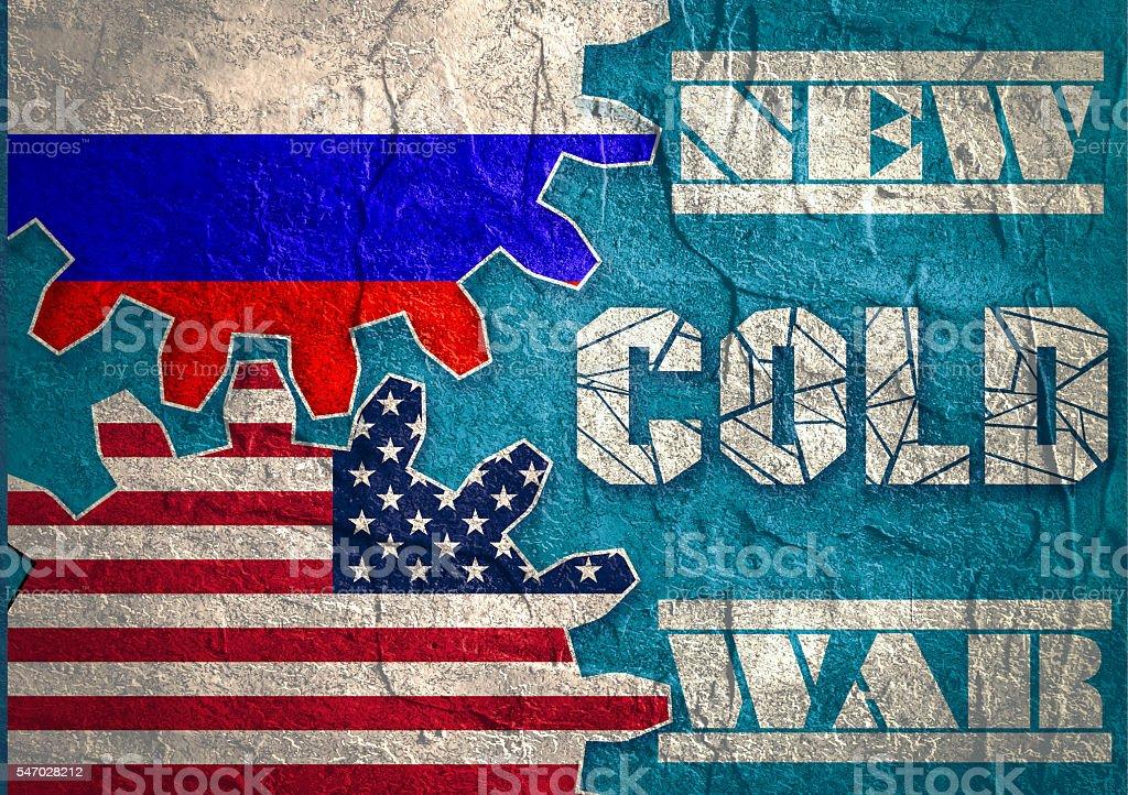 Russia confrontation United States America concept Cold War stock photo