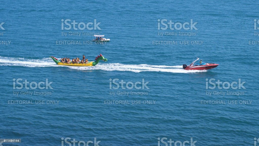 Russia Crimea 6 July 2017 Speed Boat With Tourists Catamaran Moving Through The Blue Sea In Sunny Day Stock Photo More Pictures Of Blue