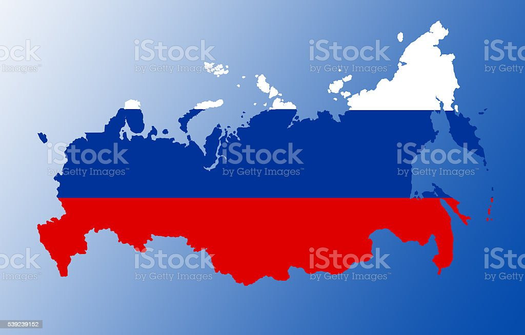 Russia flag map stock photo