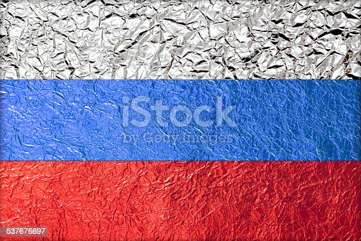 Russia Flag with a Shiny  leaf  Bronze Shiny  leaf   foil