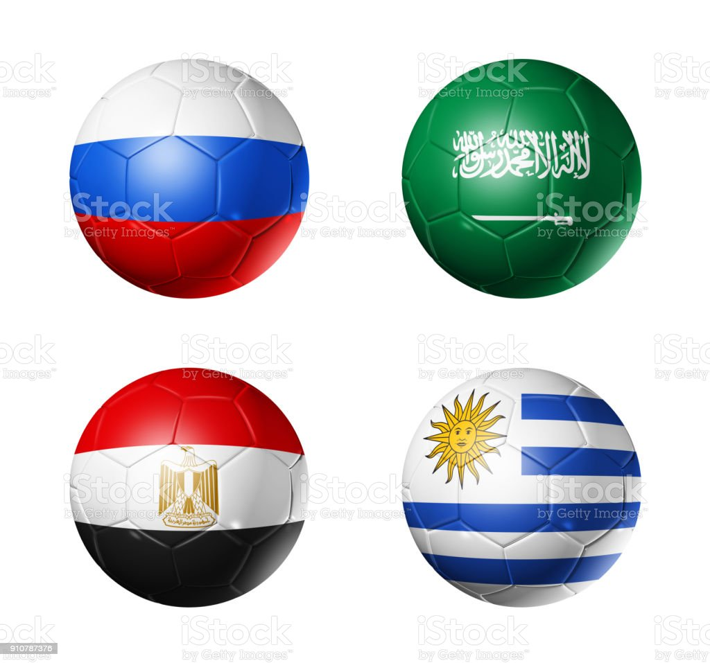 Russia football 2018 group A flags on soccer balls стоковое фото