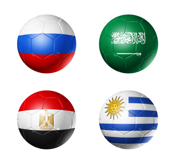 Cтоковое фото Russia football 2018 group A flags on soccer balls