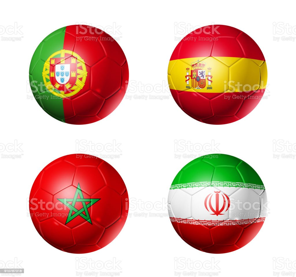 Russia football 2018 group B flags on soccer balls - foto stock