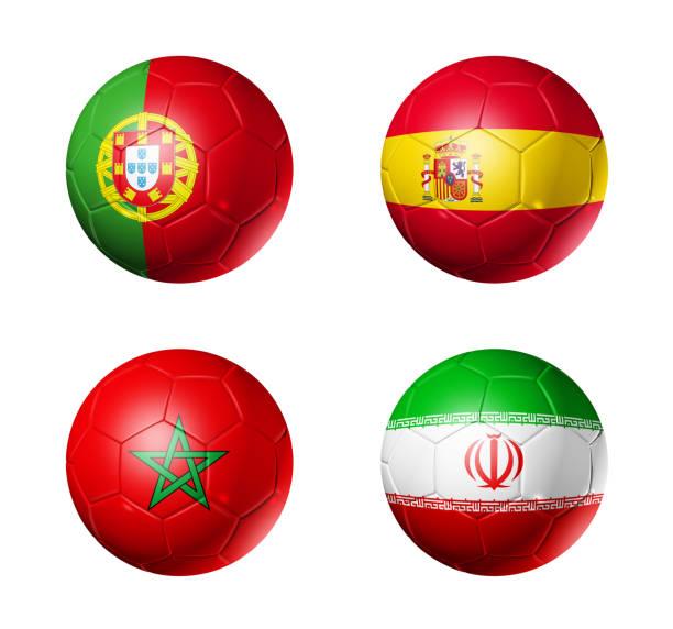 ryssland fotboll 2018 grupp b flaggor på fotbollar - football portugal flag bildbanksfoton och bilder