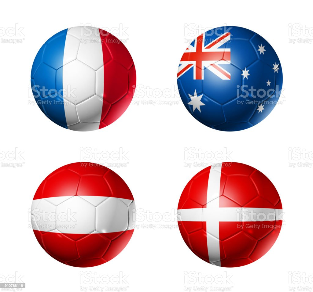 Russia football 2018 group C flags on soccer balls стоковое фото