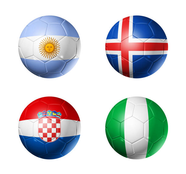 russia football 2018 group d flags on soccer balls - group d stock photos and pictures
