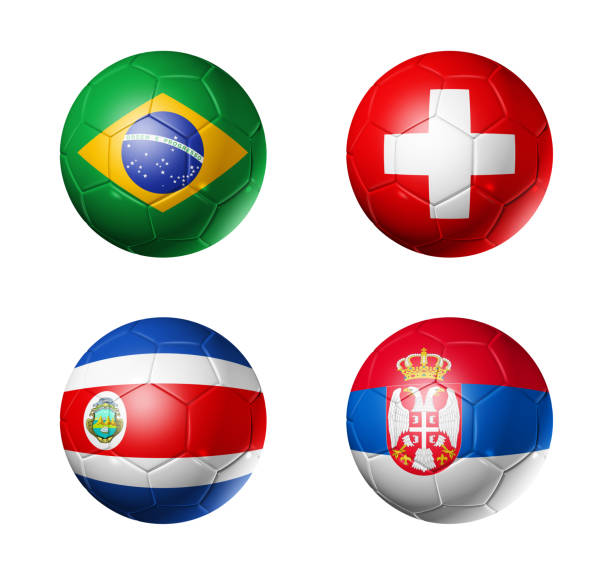russia football 2018 group e flags on soccer balls - serbia stock photos and pictures