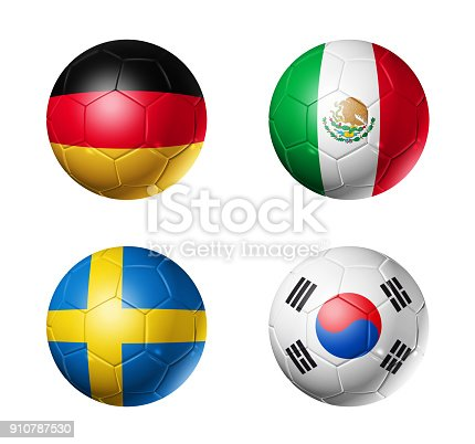 istock Russia football 2018 group F flags on soccer balls 910787530