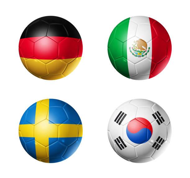 banderas de grupo f de fútbol 2018 rusia en balones de fútbol - bandera mexico fotografías e imágenes de stock