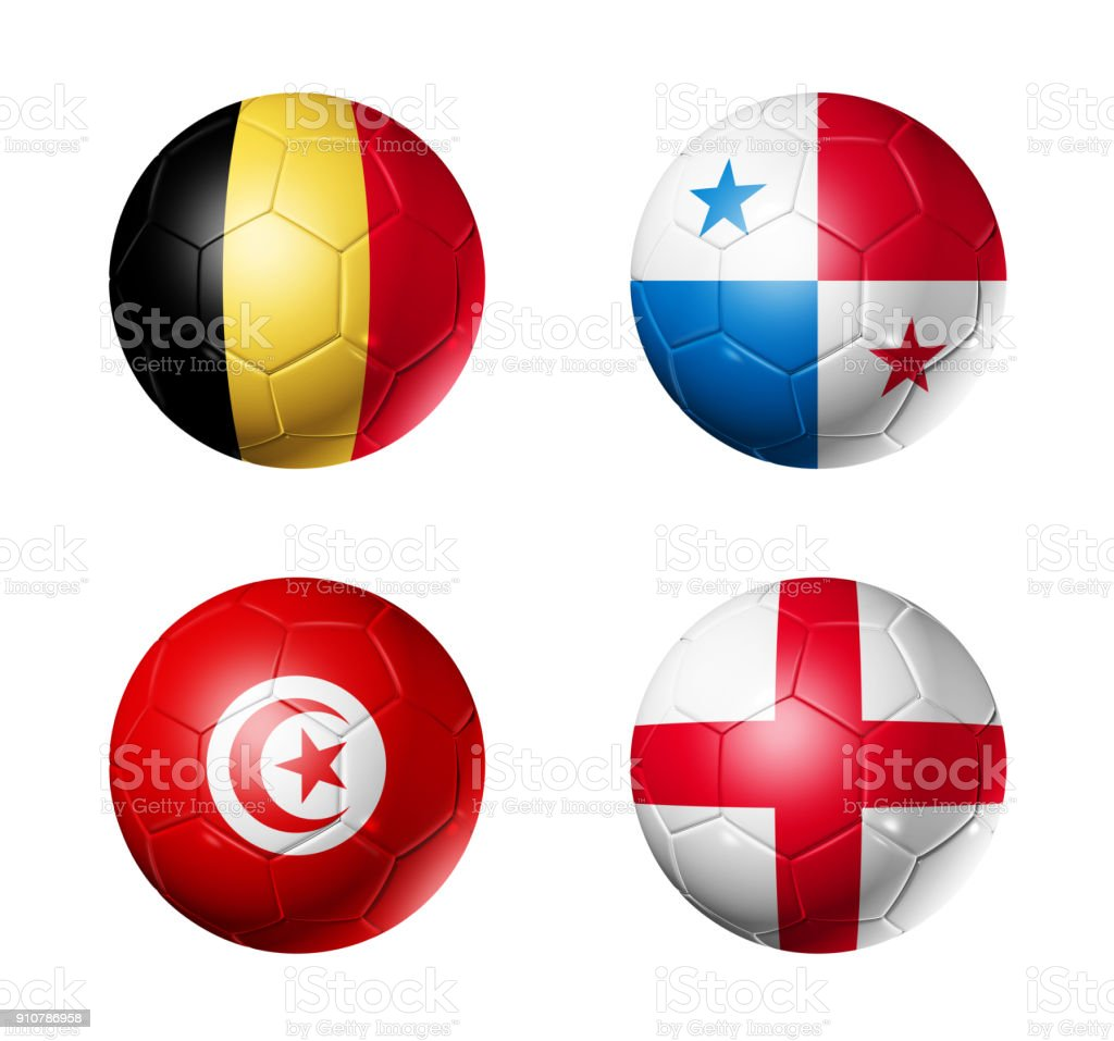 Russia football 2018 group G flags on soccer balls стоковое фото