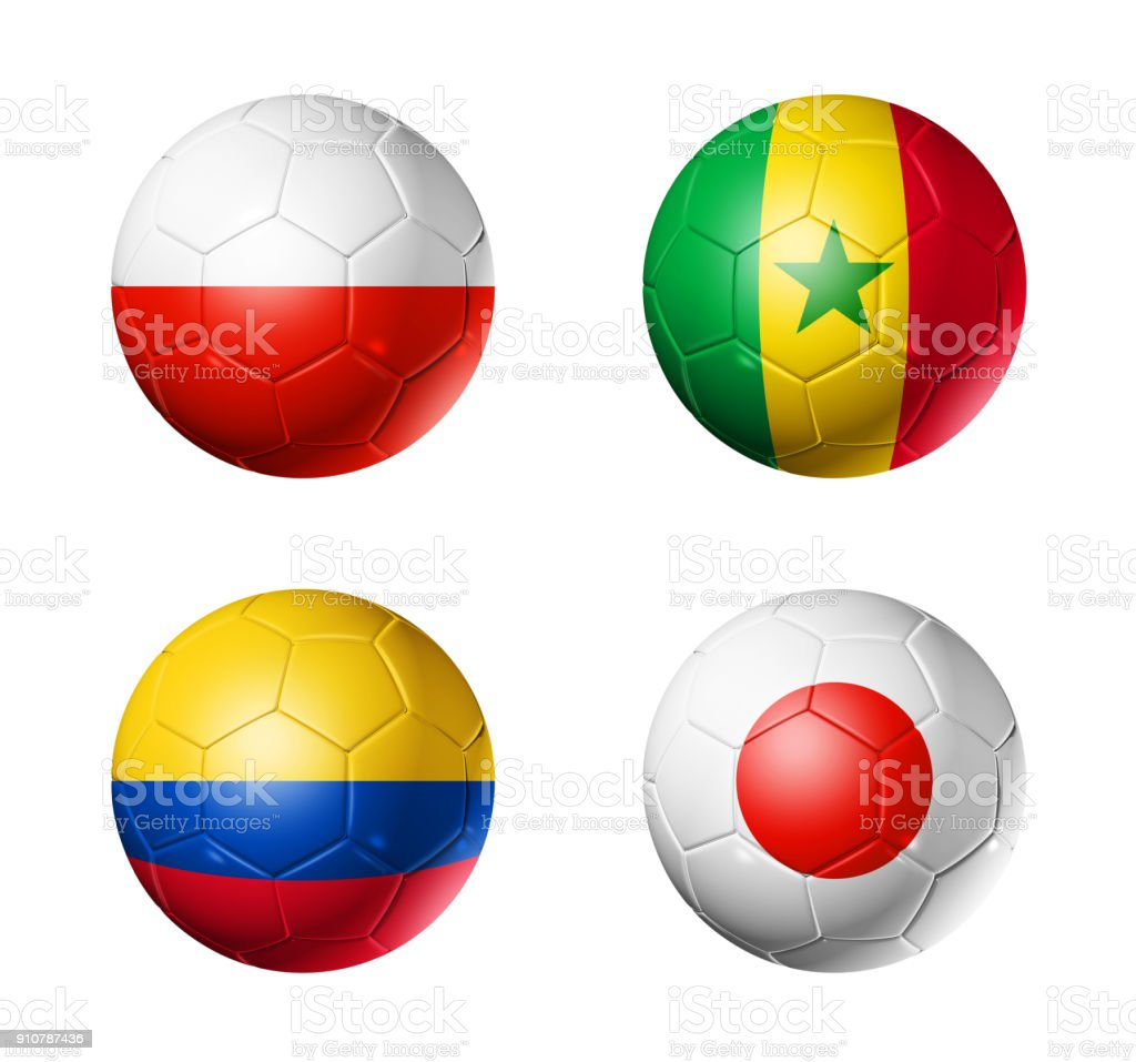 Russia football 2018 group H flags on soccer balls стоковое фото