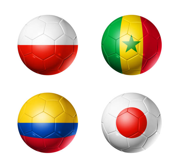 Cтоковое фото Russia football 2018 group H flags on soccer balls