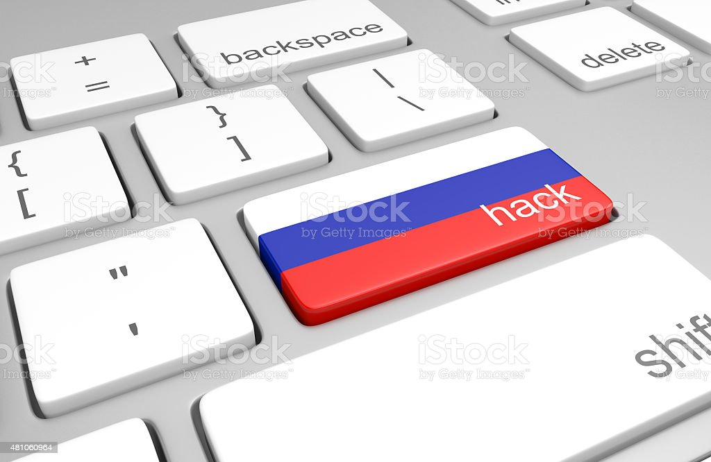 Russia hacking concept of a computer keyboard and painted key stock photo