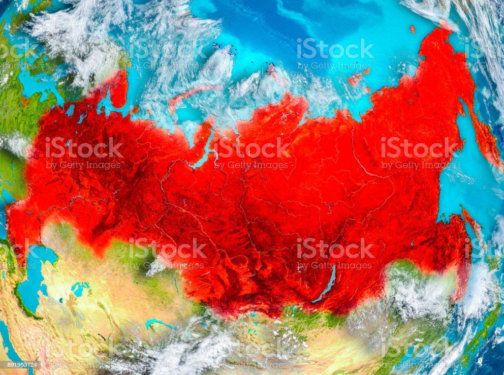 Russland in rot auf der Erde – Foto
