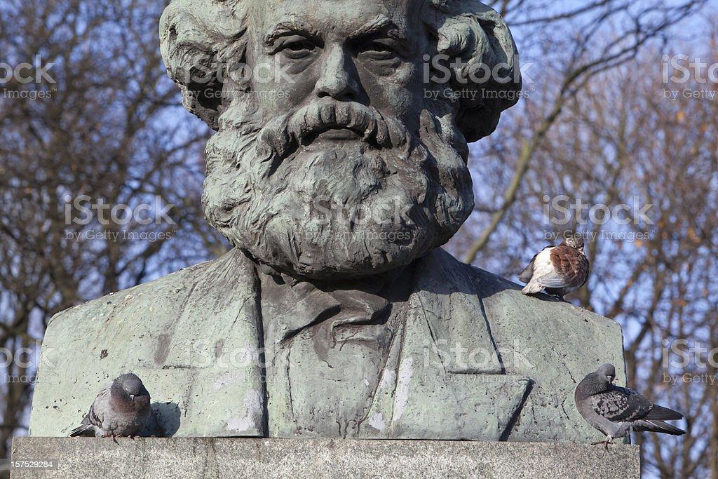 Russia, Kaliningrad: Karl Marks and pigeons stock photo